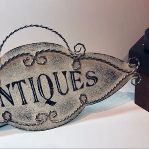 ANTIQUES metal sign wall hanging